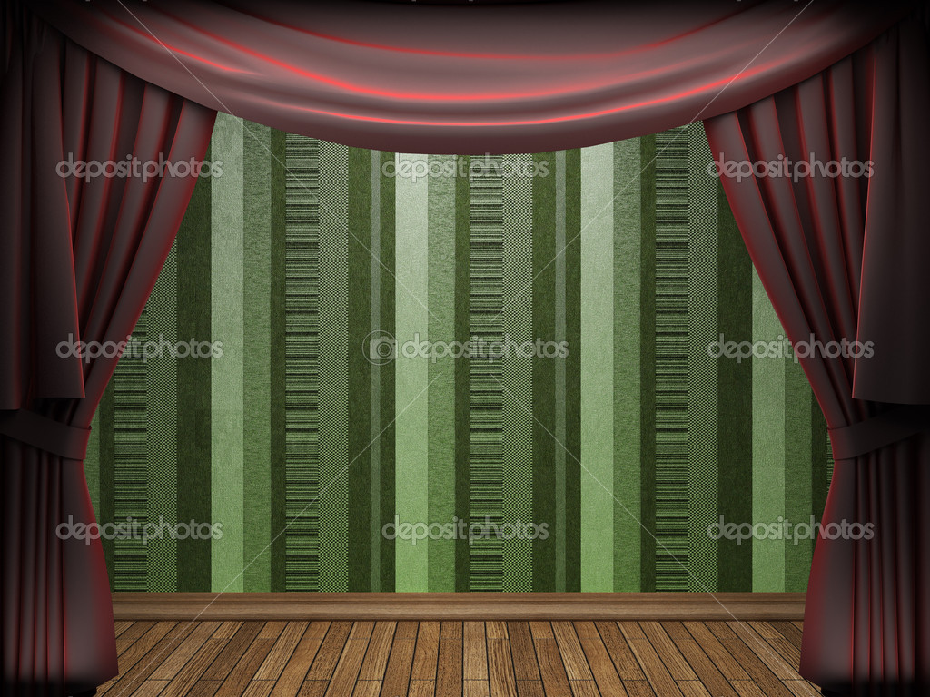 Red velvet curtain opening scene made in 3d — Stock Photo #5426817