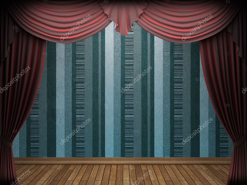 Red velvet curtain opening scene made in 3d  Stock Photo #5426818