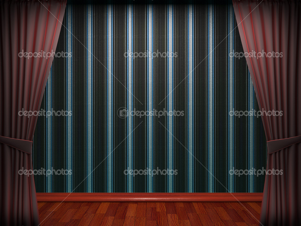 Red velvet curtain opening scene made in 3d  Stock Photo #5426915