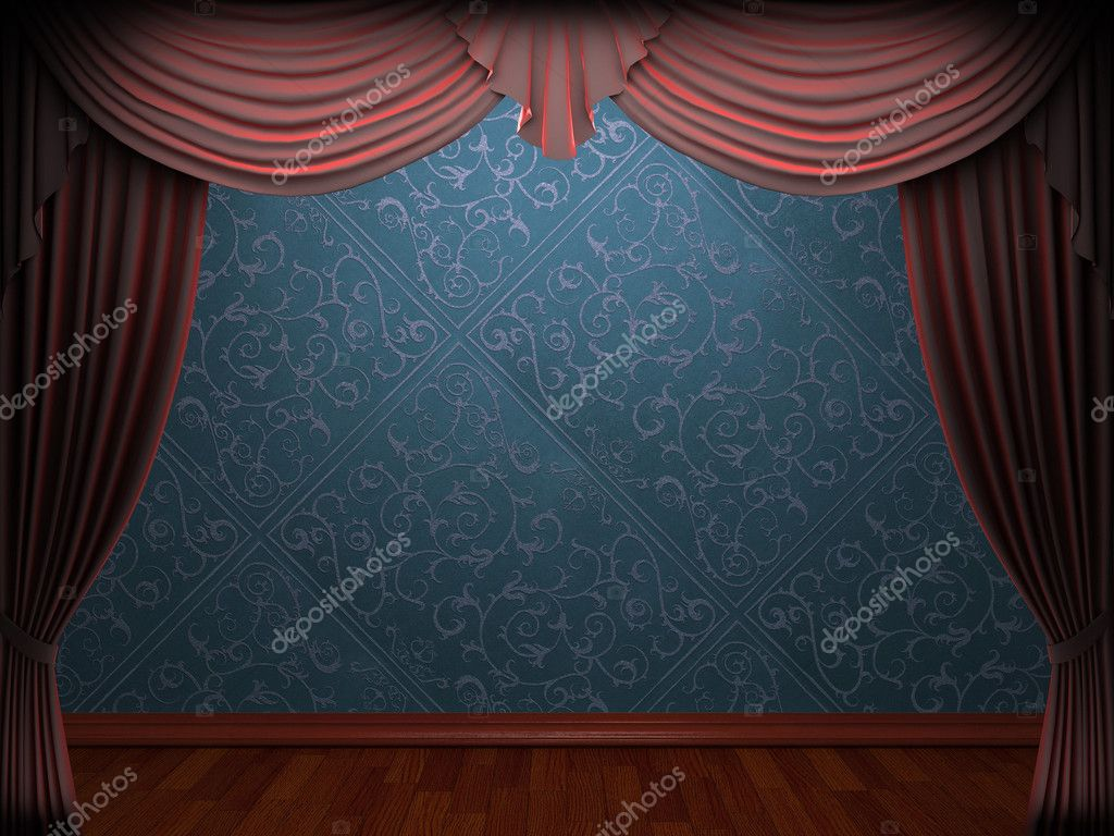 Red velvet curtain opening scene made in 3d  Stock Photo #5427007