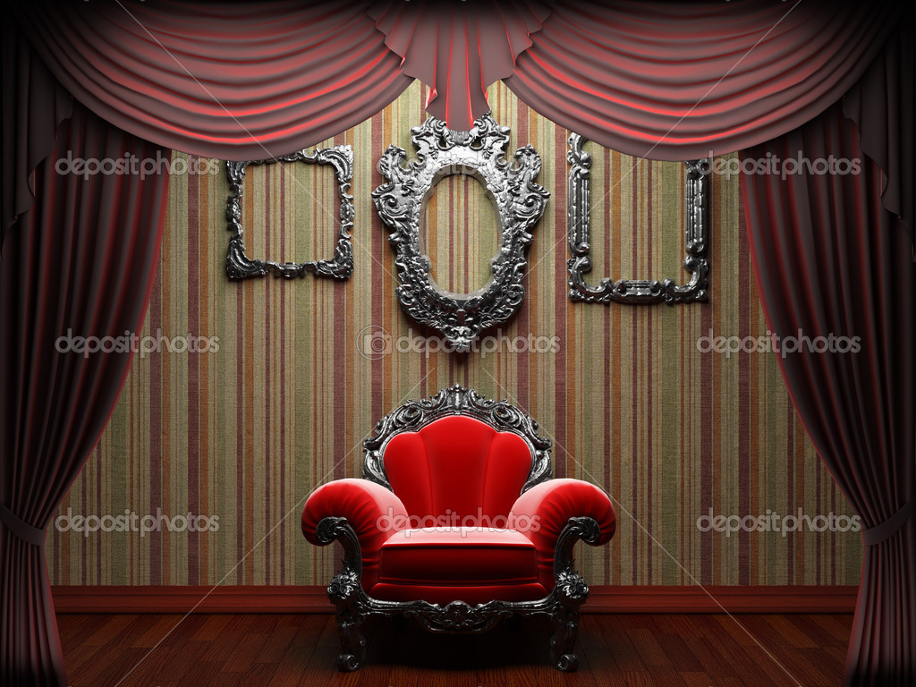 Red velvet curtain opening scene made in 3d  Stock Photo #5427047