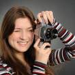 Woman  with vintage camera - Stock Photo