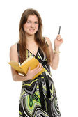Woman with a pencil and the book — Stock Photo
