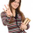 Girl pointing at you with both hands — Stock Photo