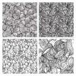 Four vector seamless floral monochrome patterns — Stock Vector