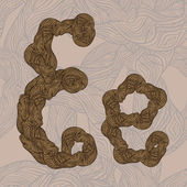 "Vector ""E"" letter of oak tree wooden texture on seamless wooden — Cтоковый вектор"