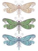 Three vector unique dragonflies — Stock Vector