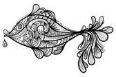Vector monochrome fish — Stock Vector