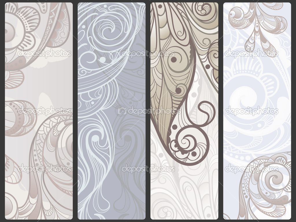 vector abstract floral banners with flowers and butterflies,  place for your text — Stock Vector #5770046
