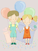 Vector boy and girl holding hands with balloons and presents at — Stock Vector