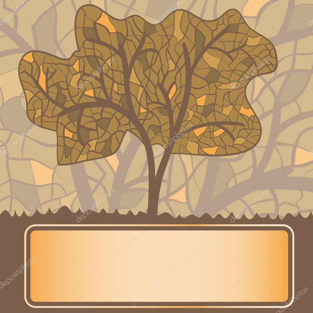 Stylized Autumn Tree Drawing Glass stylized autumn tree