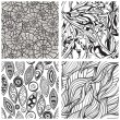 Stock Vector: Vector seamless abstract hand drawn monochrome patterns