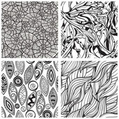 Vector seamless abstract hand drawn monochrome patterns — Stock Vector
