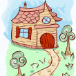 Vector cartoon house and trees - Stok Vektr