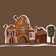 Vector landscape with old houses - Stock Vector