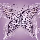 Vektör el çekilmiş güzel kelebek, vintage tarzı — Stok Vektör