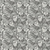 Vector seamless monochrome pattern with abstract flowers — Stock Vector