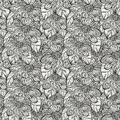 Vektor nahtlose monochrom muster mit abstrakten blumen — Stockvektor