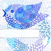 Vector abstract background with floral circle, bird, and place — Stock Vector