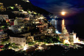 Full moon over Positano, Italy, HDR — Stock Photo