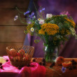 Stock Photo: Autumn Still Life with flower and peach