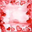 Frame of red hearts painted in watercolor — Stock Photo #6223013