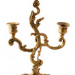 Antique candlestick on a white background — Stock Photo