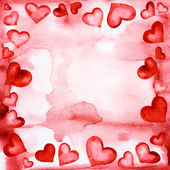 The frame of red hearts painted in watercolor — Stock Photo