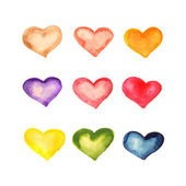 Watercolor background hearts — Stock Photo
