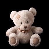 Teddy bear on a black background — Stock Photo