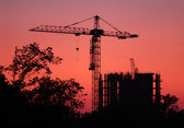 Crane at sunset. building background — Stock Photo