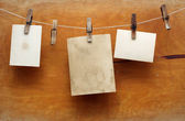 Vintage photographs hang on the clothespin isolated on Wood wall — Stock Photo