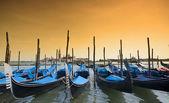 Parked gondolas in Venice, Italy — Stock Photo