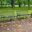 Empty bench in urban park in autumn — Stock Photo #5757582