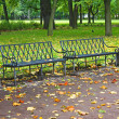 Empty bench in urban park in autumn — Photo