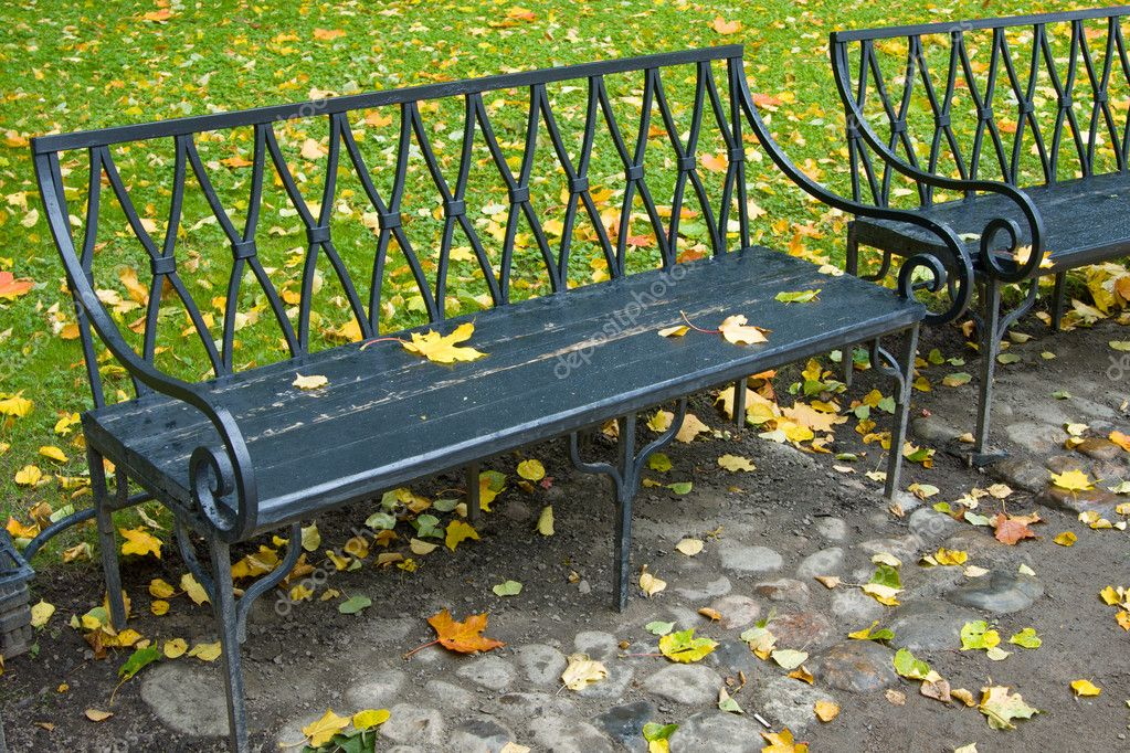 Two benches in autumn park — Stock Photo #5757577