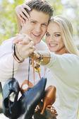 Romantic couple in love outdoor — Stock Photo