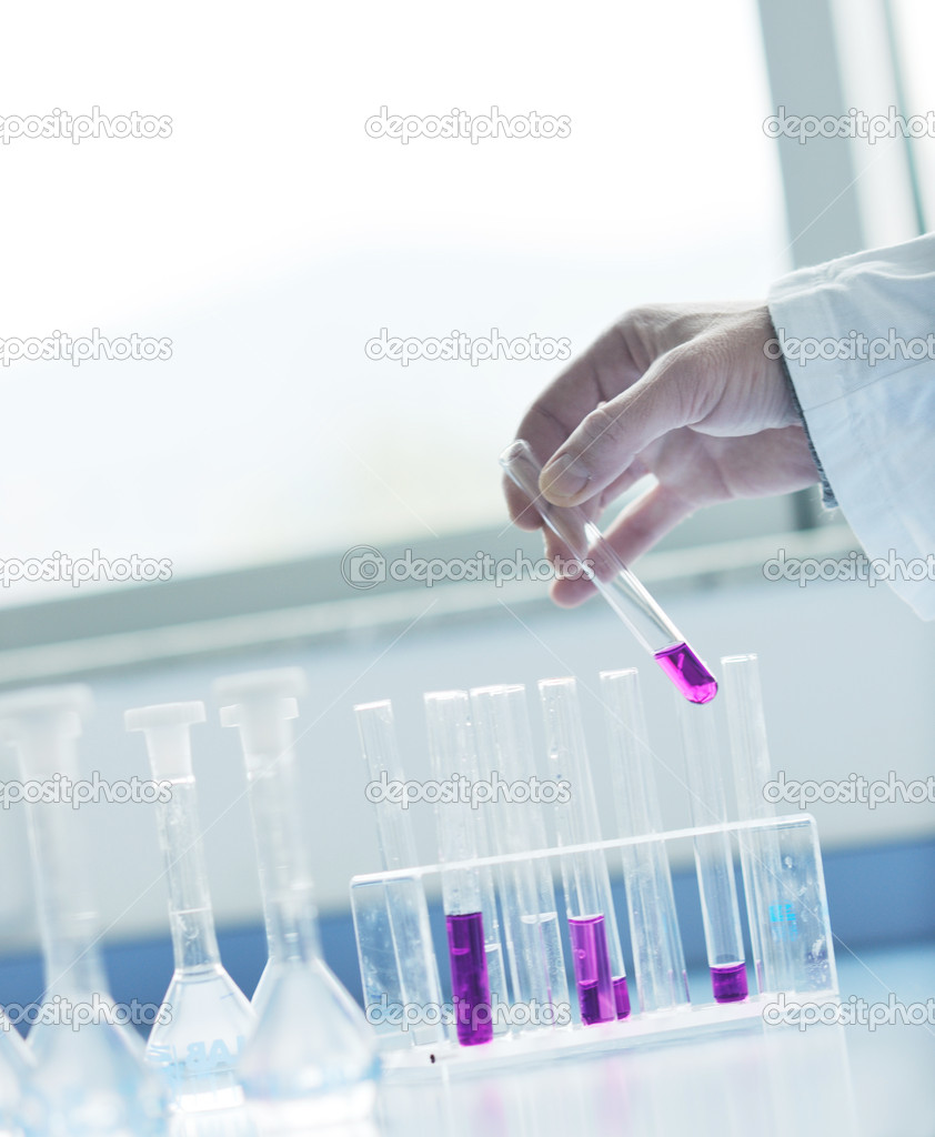 Research and  science doctor student  in bright labaratory representing chemistry education and medicine concept — Foto Stock #5475019