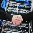 It engineer in network server room — Stock Photo