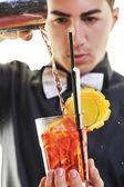 Barman portrait isolated on white background — Stock Photo