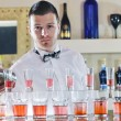 Pro barman prepare coctail drink on party — Stock Photo #5601979