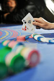 Woman play black jack card game in casino — Foto Stock