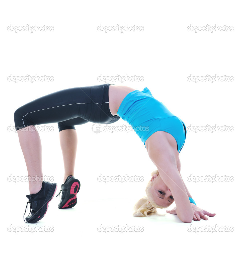 Fitness and exercise with blonde woman  isolated on white representing diet and weight loss concept  Stock Photo #5648095