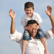 Happy father and son have fun and enjoy time on beach — Stock Photo #5745934