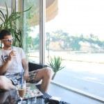 Man drink fresh morning coffee — Stock Photo #5778894