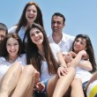 Stock Photo: Group of happy young in have fun at beach