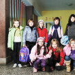 Happy children group in school — Stok fotoğraf