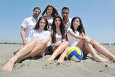 Gruppe von happy Young in der viel Spaß am Strand — Stockfoto