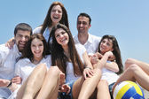 Group of happy young in have fun at beach — Stock Photo