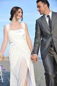 Casamento romântico praia ao pôr do sol — Foto Stock
